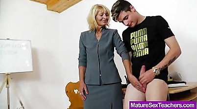 Mommy Busts on teachers cock