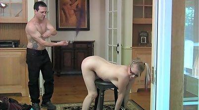 Blond step-sister head bondage and kinky rough sex