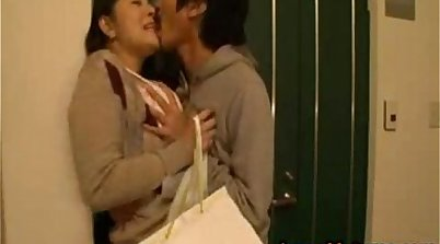 Thick japan mom licks at her male friends