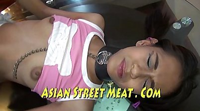 Asian slave gets fucked on her belly
