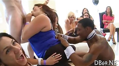 Anal graduation party with strippers in the back