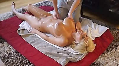Horny mom gives massage to her sons BF
