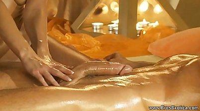 Two Cocks Around A Massage Babe AddictedWithCum