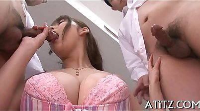 Asian with large boobs films himself getting hammered and tape