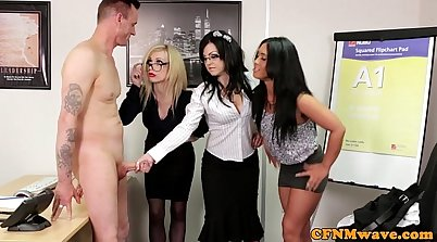 CFNM office femdom bitches tug on guys cock