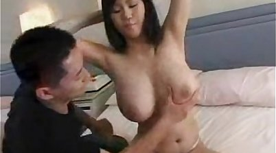 Busty asian Janessa shows off her body and clean her mouth