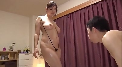Busty Japanese mom gets her arse and shaved twat hammered