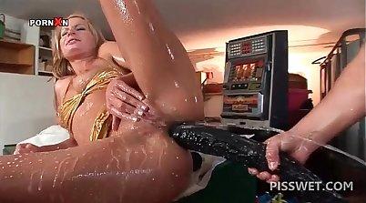 Beautiful slut throats huge toys every time she wants cock