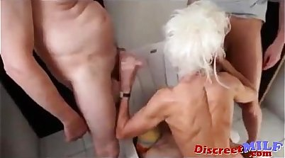 Bear customers fucked by granny, whore in threesome